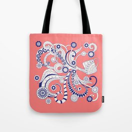 pink floral doodle pattern with watering can Tote Bag