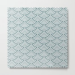 Teal Blue Japanese wave pattern Metal Print