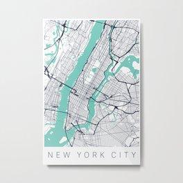 New York City Map Art - Wayfinder Creative Metal Print