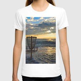 Disc Golf Basket Chesapeake Bay Virginia Beach Ocean Sunset T-shirt