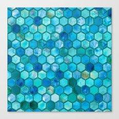 Blue aqua geometric hexagonal elegant & luxury pattern Canvas Print