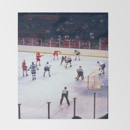 Vintage Ice Hockey Match Throw Blanket