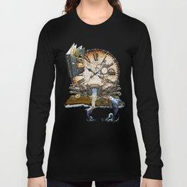 Steampunk Ocean Dragon Library Long Sleeve T-shirt