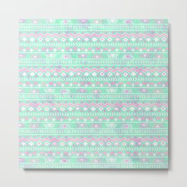 Pink teal watercolor tribal geometrical pattern Metal Print