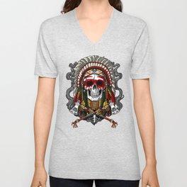 Native American Skull Indian Chief Headdress Unisex V-Neck