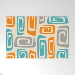 Mid Century Modern Cosmic Abstract 740 Orange Blue and Gray Welcome Mat