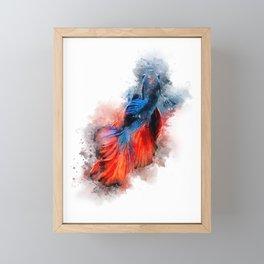 RED BLUE BETTA FISH Framed Mini Art Print