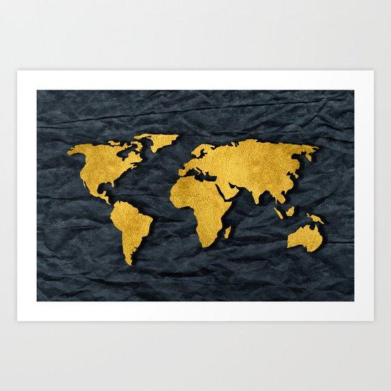 Metallic Gold Leaf Map on paper Art Print