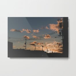 Powerlines And An Urban Sunset Metal Print