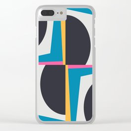 Modern Geometric 65 Blue Clear iPhone Case