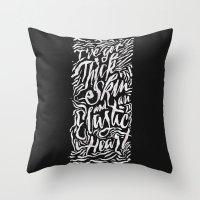 sia Throw Pillows featuring Elastic Heart B&W by Jillian Adel