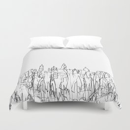 Glasgow, Scotland UK Skyline B&W - Thin Line Duvet Cover