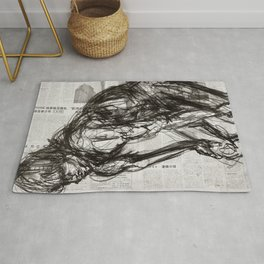 In Control - Charcoal on Newspaper Figure Drawing Rug