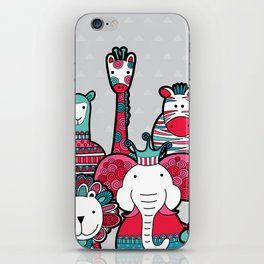 Doodle Animal Friends Pink & Grey iPhone Skin