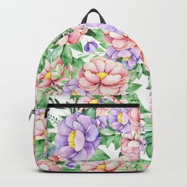 Hand painted lavender coral green watercolor floral Backpack