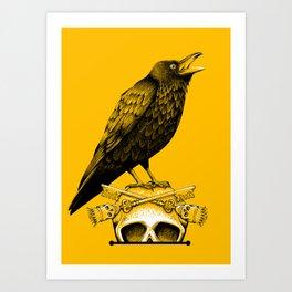 Black Crow, Skull and Cross Keys Art Print