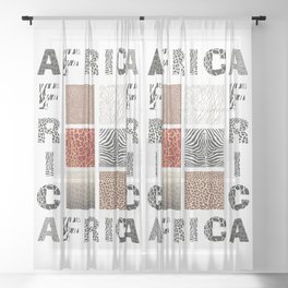 Africa - background with text and texture wild animal Sheer Curtain