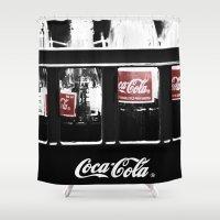 coca cola Shower Curtains featuring coca cola by Crimson Crazed