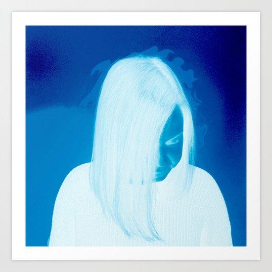Girl On Fire (blue) Art Print