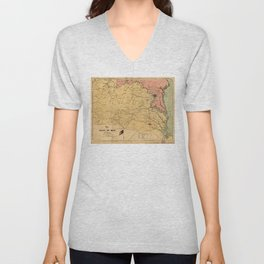 Map of the Seat of War, Virginia & Maryland (1861) Unisex V-Neck
