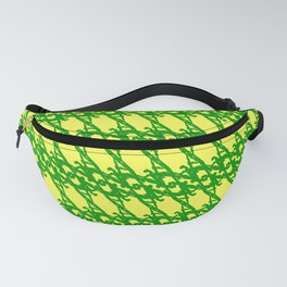 Braided diagonal pattern of wire and green arrows on a yellow background. Fanny Pack