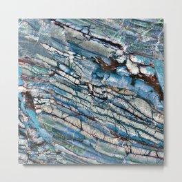 Stratified Blue Rock-Art Panel Metal Print