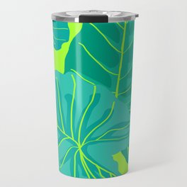 Giant Elephant Ear Leaves in Neon Lime Green Travel Mug