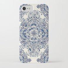 Floral Diamond Doodle in Dark Blue and Cream iPhone 7 Slim Case