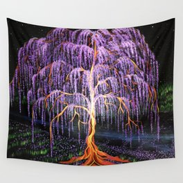 Electric Wisteria Willow Tree Wall Tapestry
