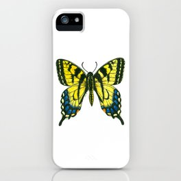 Tiger swallowtail butterfly watercolor and ink art, watercolor butterfly, eastern tiger swallowtail iPhone Case