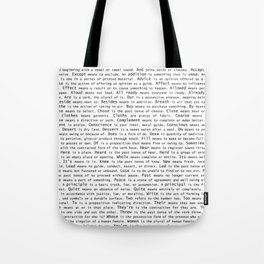 Top Grammar Mistakes From Homonyms: A Unique Gift for Writers and Editors (Black Text on White) Tote Bag