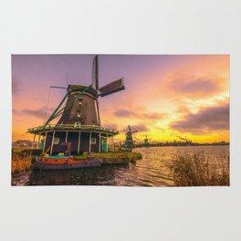 zaanse schans windmill village Rug