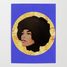 Feminist Angela Davis as a Young Black Lives Matter Activist for Panthers Poster