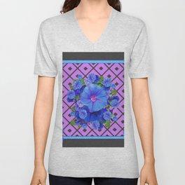 Grey-Lilac Pattern Blue Morning Glories Art Unisex V-Neck