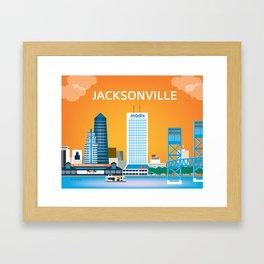Jacksonville, Florida - Skyline Illustration by Loose Petals Framed Art Print
