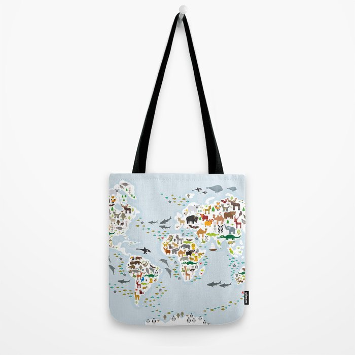 Cartoon animal world map for children and kids, Animals from all over the world, back to school Tote Bag