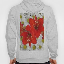 RED AMARYLLIS WHITE DAISIES FLORAL ART Hoody