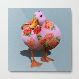 Duck n' Roses Metal Print