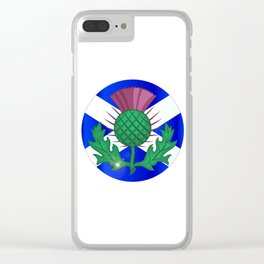 Scotish Flag And Thistle Button Clear iPhone Case