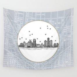 Detroit, Michigan City Skyline Illustration Drawing Wall Tapestry