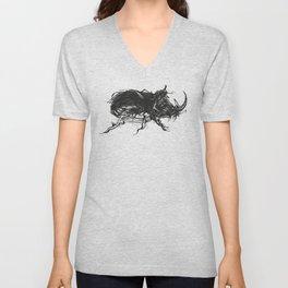 Beetle 1. Black on white background Unisex V-Neck