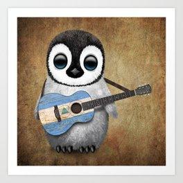 Baby Penguin Playing Nicaraguan Flag Acoustic Guitar Art Print