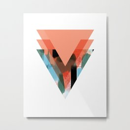 Three Triangles Geometric in Coral Metal Print