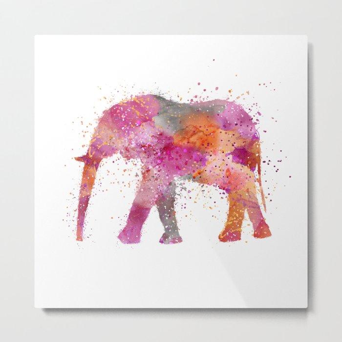 Artsy watercolor Elephant bright orange pink colors Metal Print