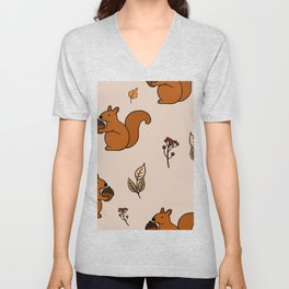 Cute Squirrel And Leaf Patterns Yellow Unisex V-Neck