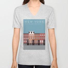 New York City, NYC, West Village Travel Poster Unisex V-Neck