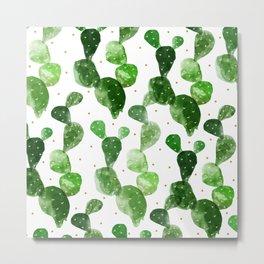 cactus watercolor pattern Metal Print