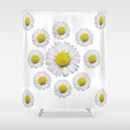 ALL WHITE SHASTA DAISY FLOWERS ART Shower Curtain