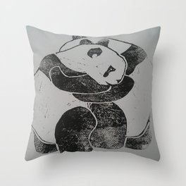 Panda Hugs Lino Print Throw Pillow
