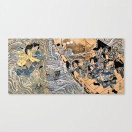 Kuniyoshi Utagawa, The ghost of Taira Tomomori, Daimotsu bay Canvas Print